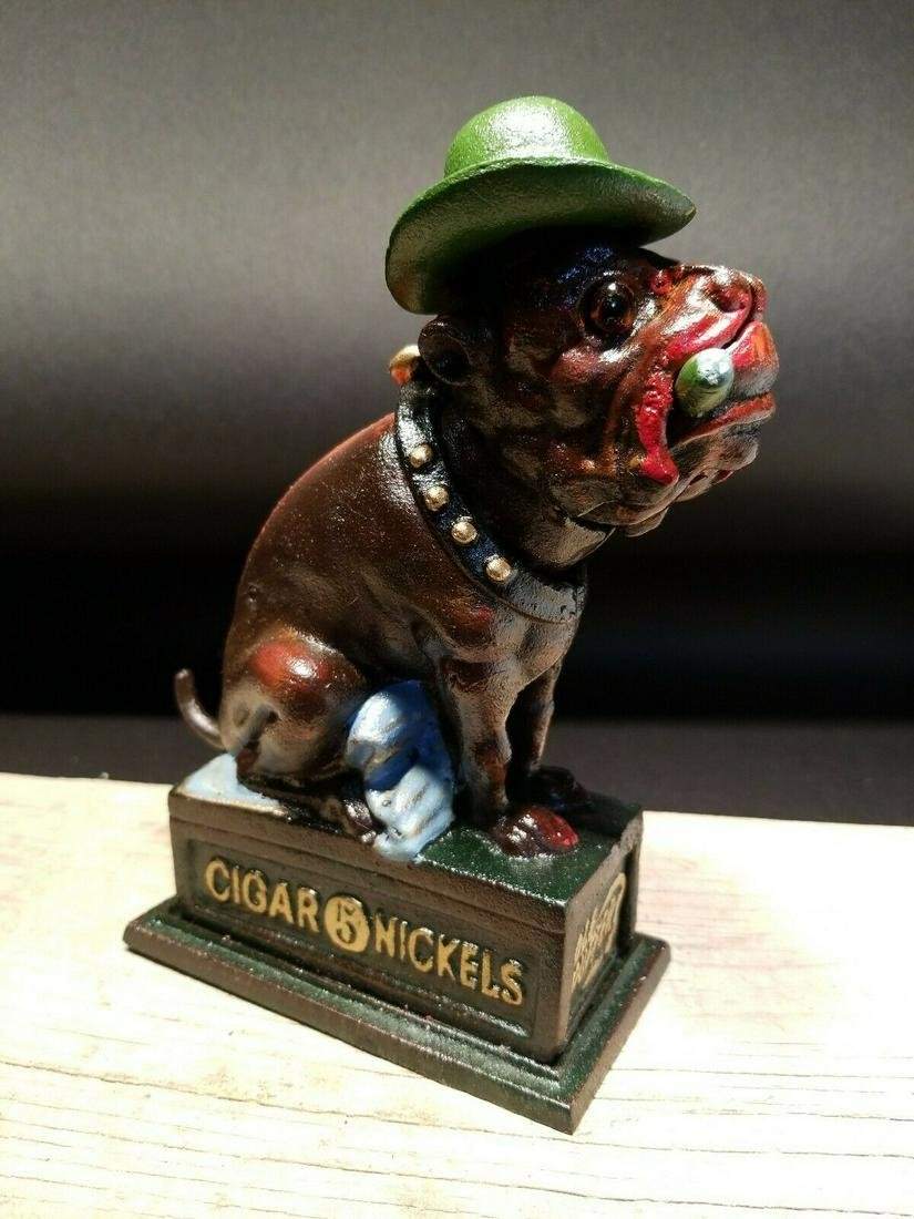 Gambling Dogs Cigar Bulldog Mechanical Coin Bank