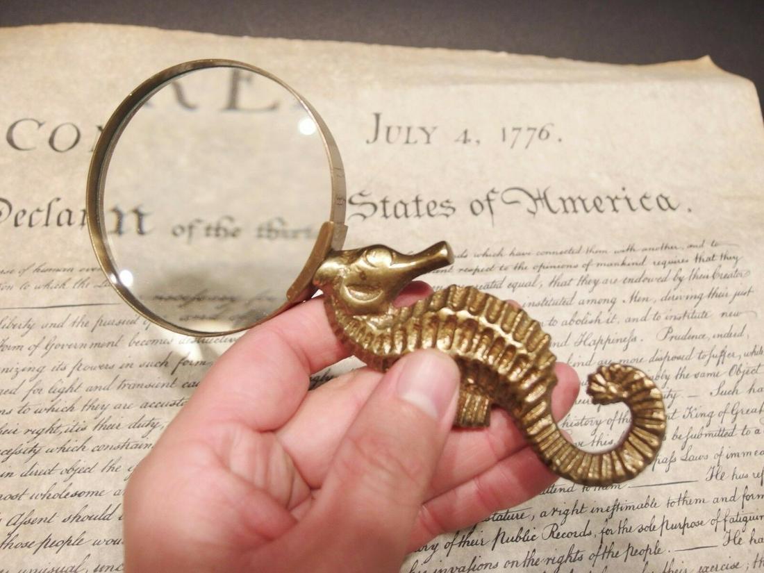 Brass Seahorse Magnifying Glass Desk Hand Lens