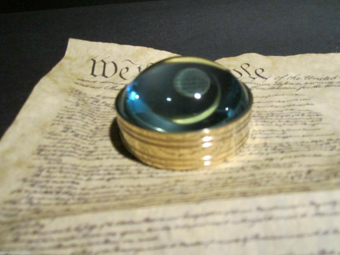 Small Round Brass Heavy Magnifying Glass Desktop Lens