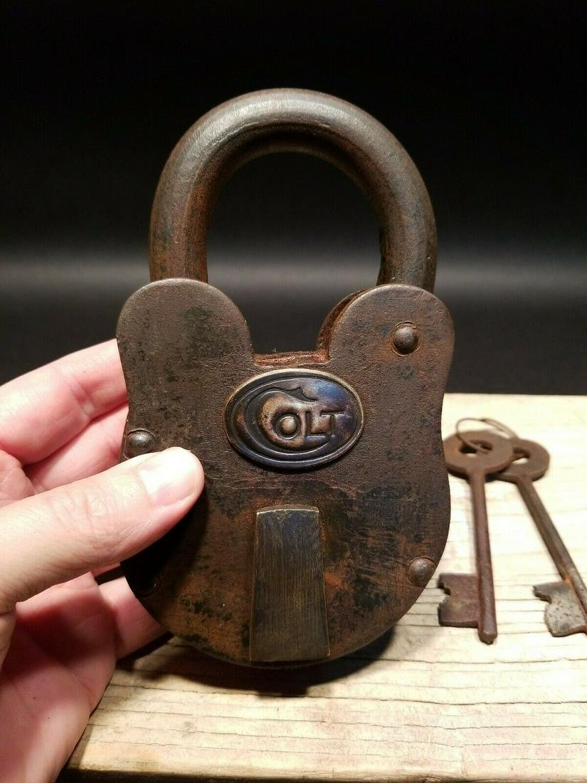 Cast Iron Colt Firearms Ammo Box Padlock Lock & Key
