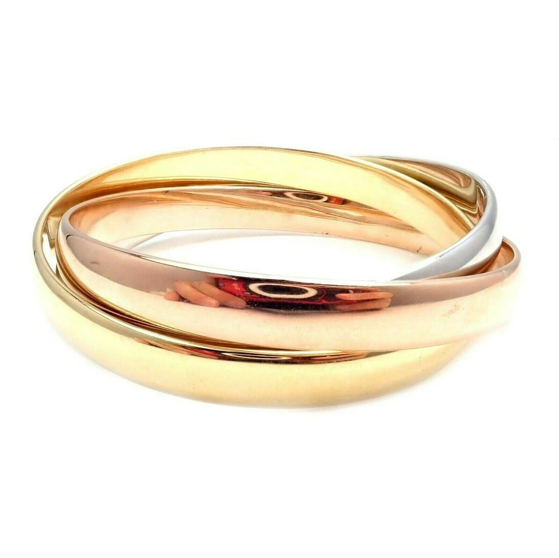 Rare! Cartier 18k Tricolor Gold Large Rolling Trinity
