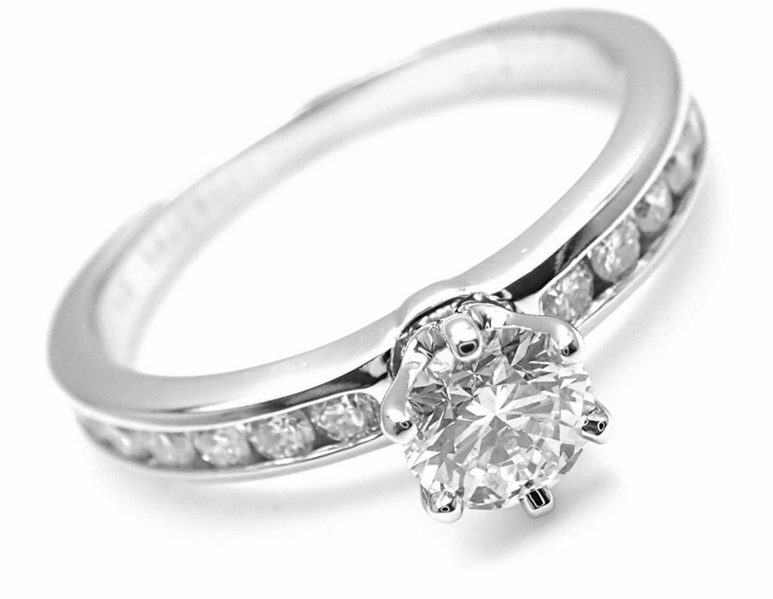 Authentic! Tiffany & Co Platinum 0.54ctw Diamond E/VS1