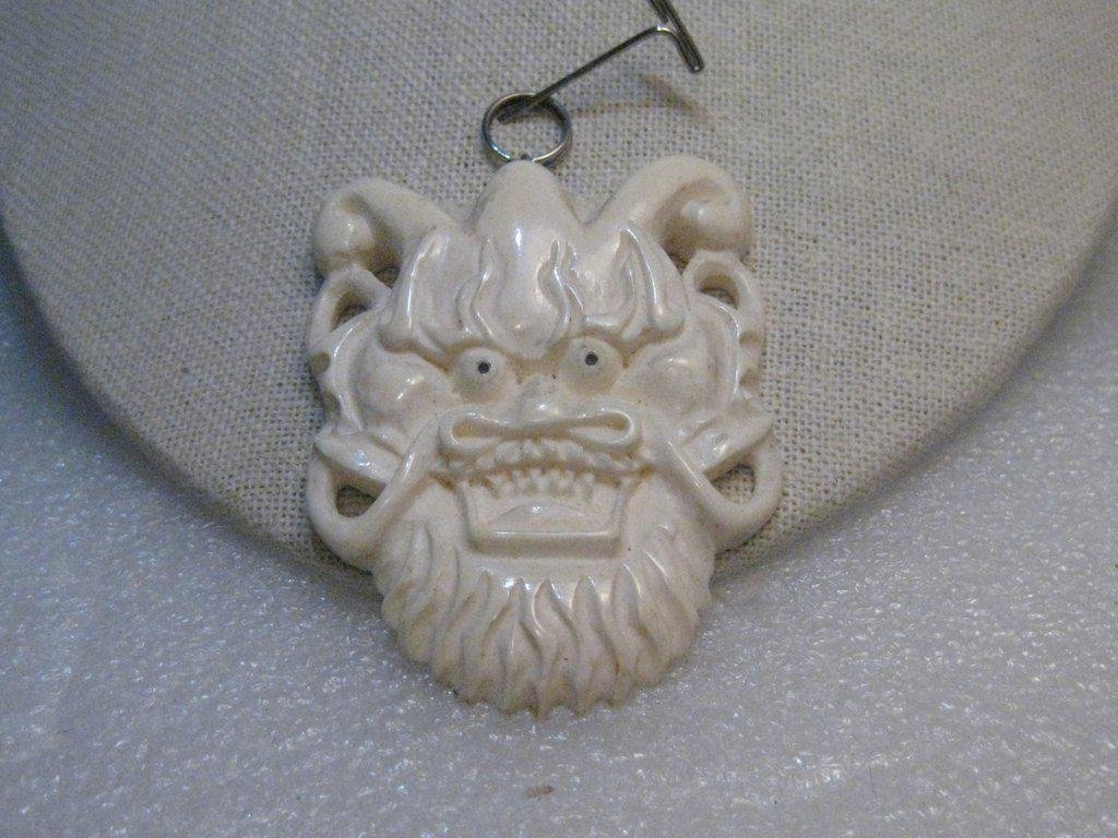 "Vintage Chinese Lion Carved Bone Pendant, 3"" with Bale,"