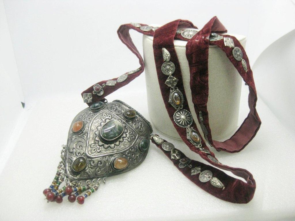Vintage Ethnic Sajai Metal Purse, Polished Stones,