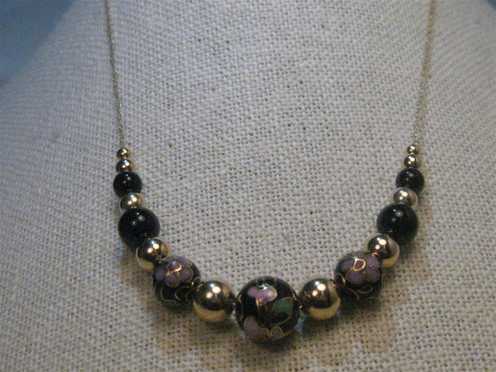 """14Kt Gold Cloisonne Beaded Necklace, 24"""", Black & Gold"""