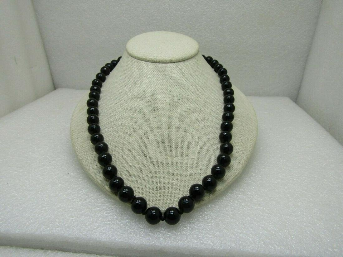 """22"""" Black Beaded Necklace, 10mm knotted between, Red"""