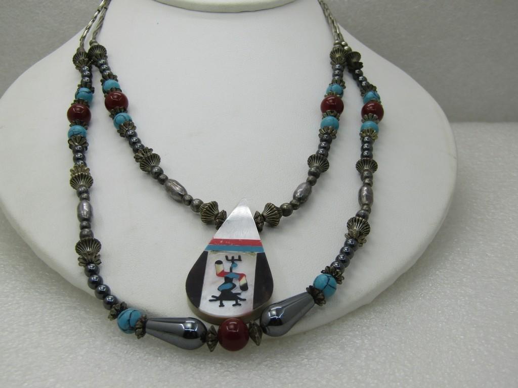 Vintage Zuni Themed Southwestern Necklace, Double