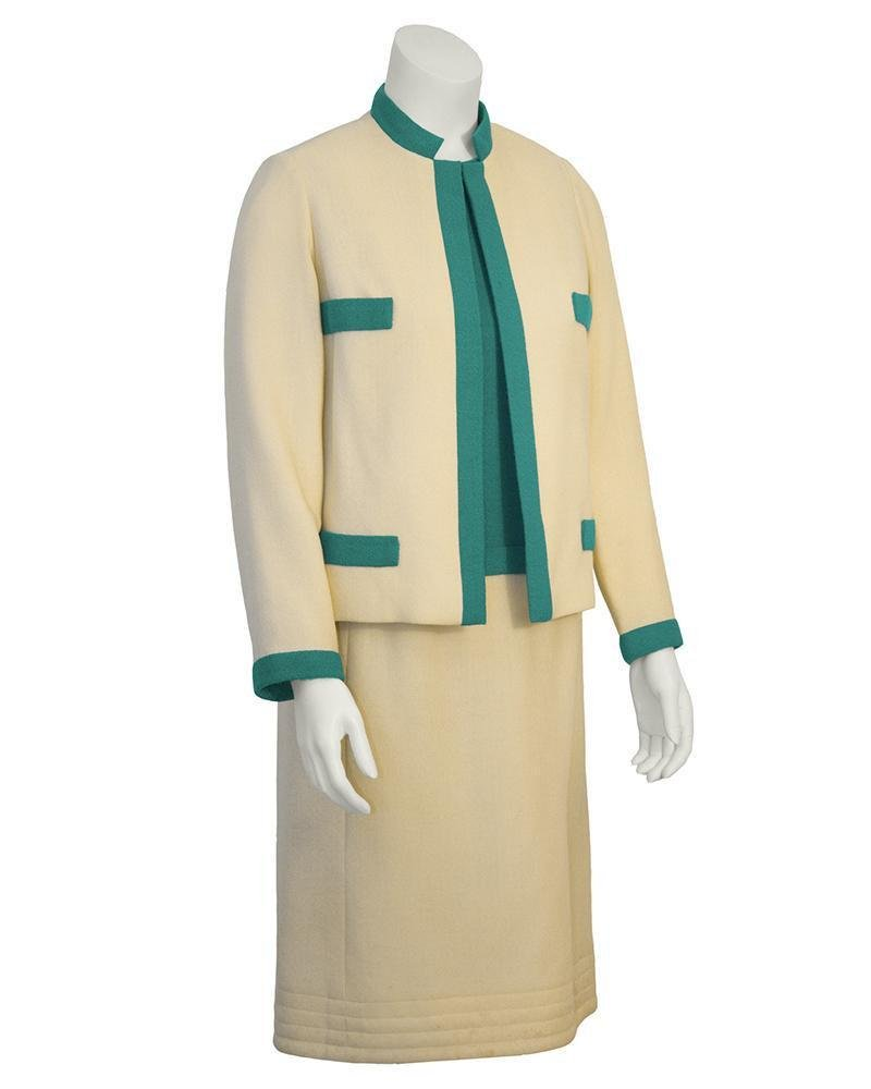 Mary Korolnek Cream and Green Dress and Jacket suit