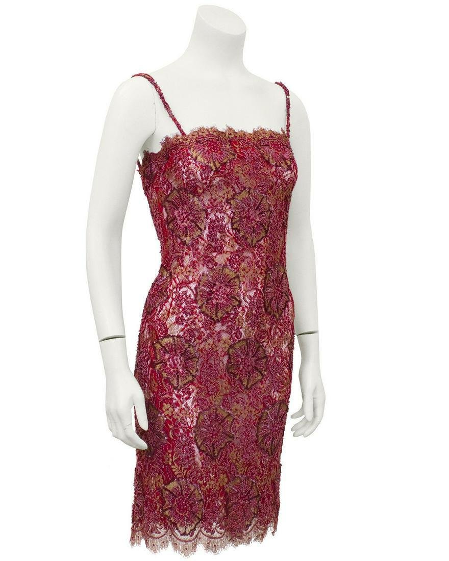 Anonymous Red Demi Couture Sheer Beaded Lace Mini