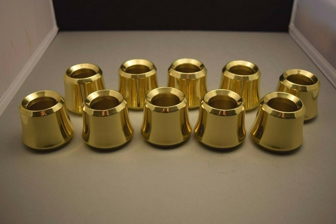 Details about Set of 10 Solid Brass Candle Followers 1