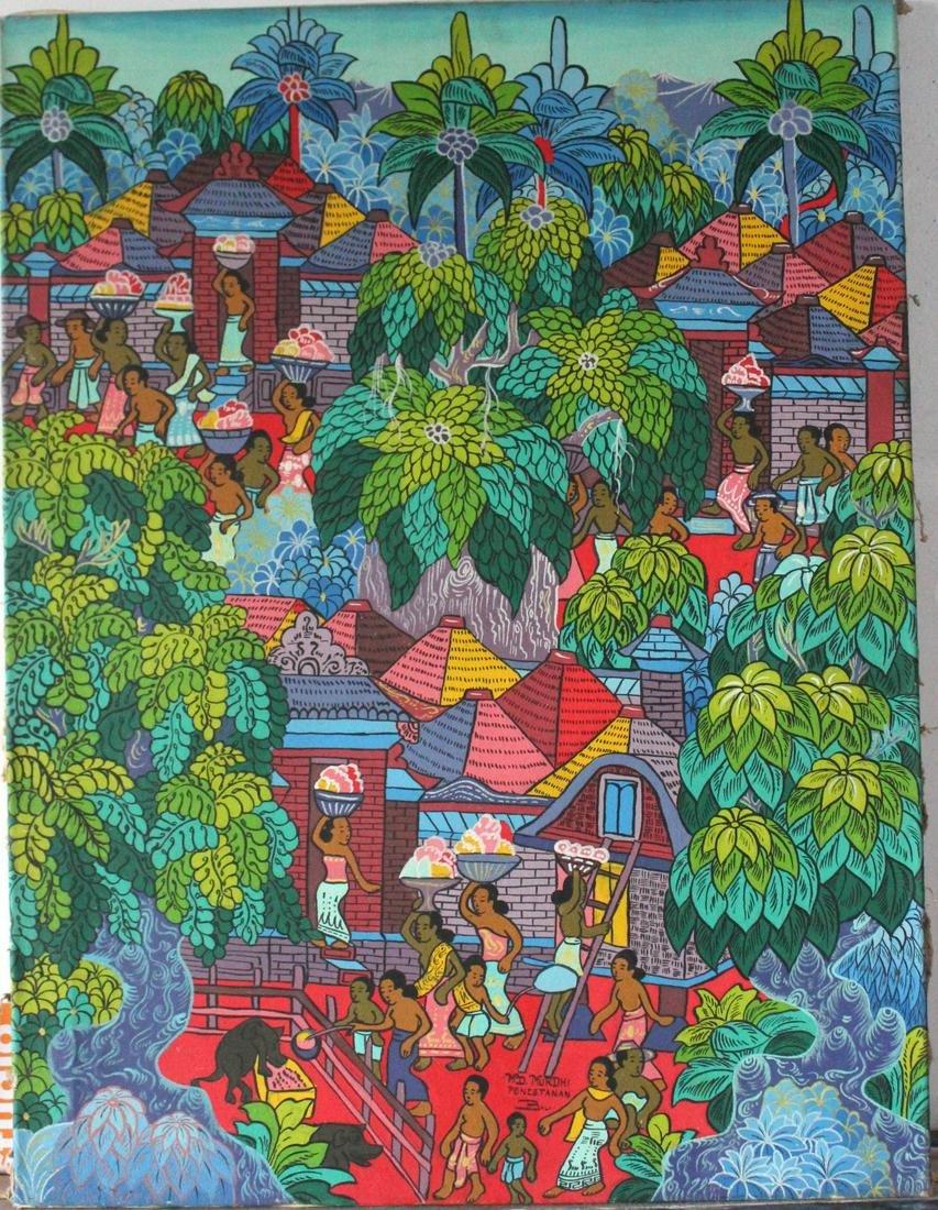Murdhi Signed Balinese Art Painting, ca. 1970s