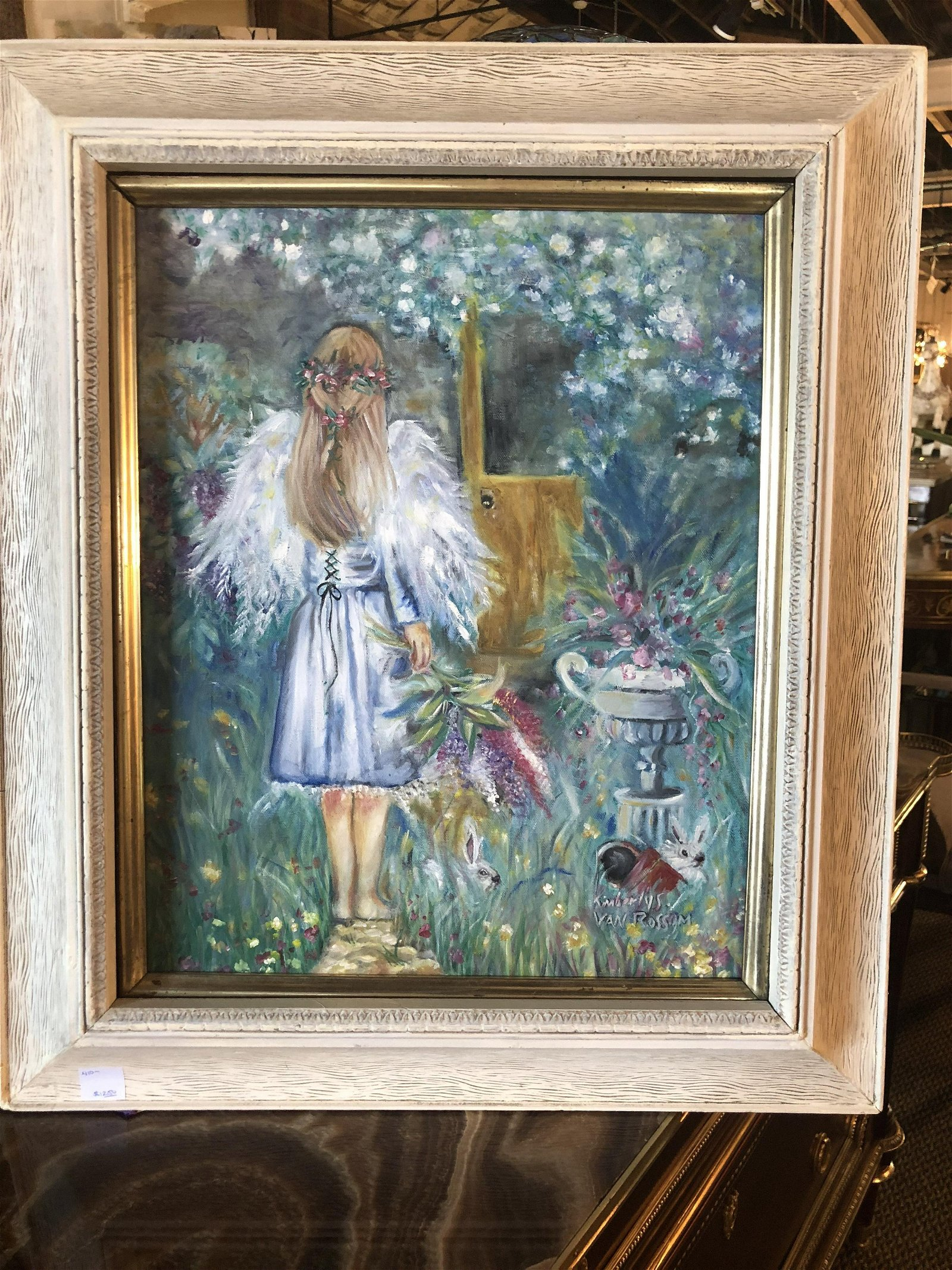 Oil on Canvas of a Young Girl in a Garden Signed