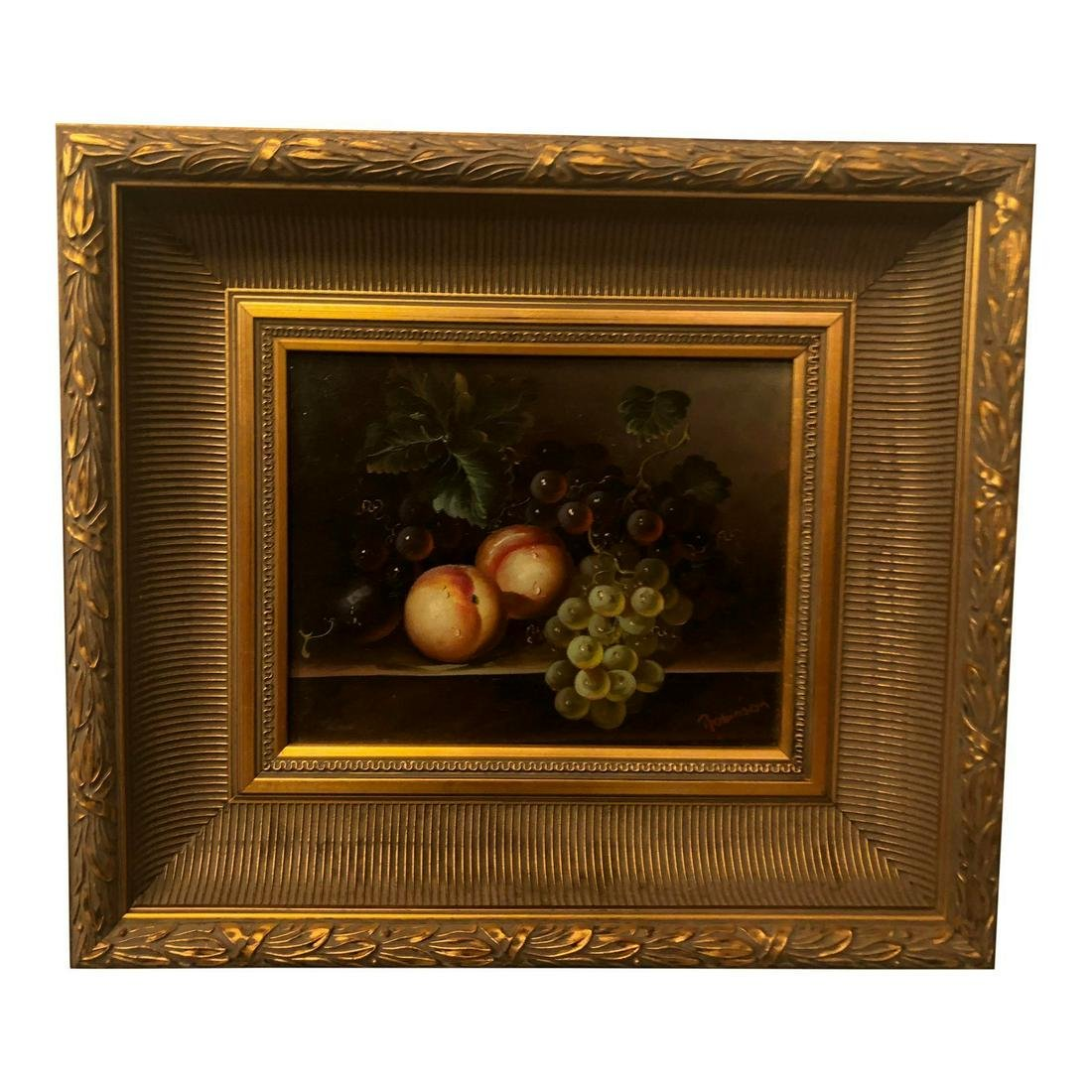 1980s Fruit on Table Still Life Oil on Canvas Painting