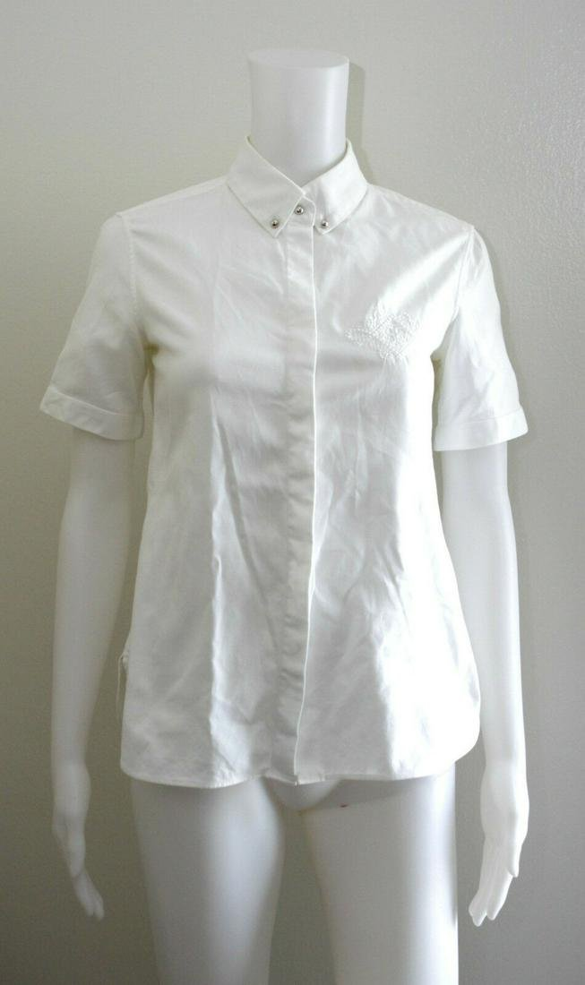BALENCIAGA PARIS WHITE SHORT SLEEVE TOP BLOUSE SHIRT