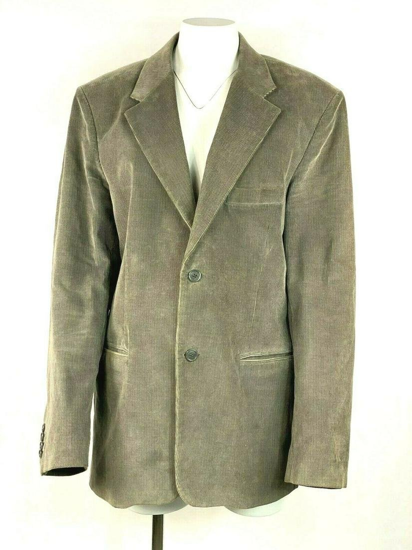 Coop Barneys New York Grey Olive Velvet Corduroy Suit
