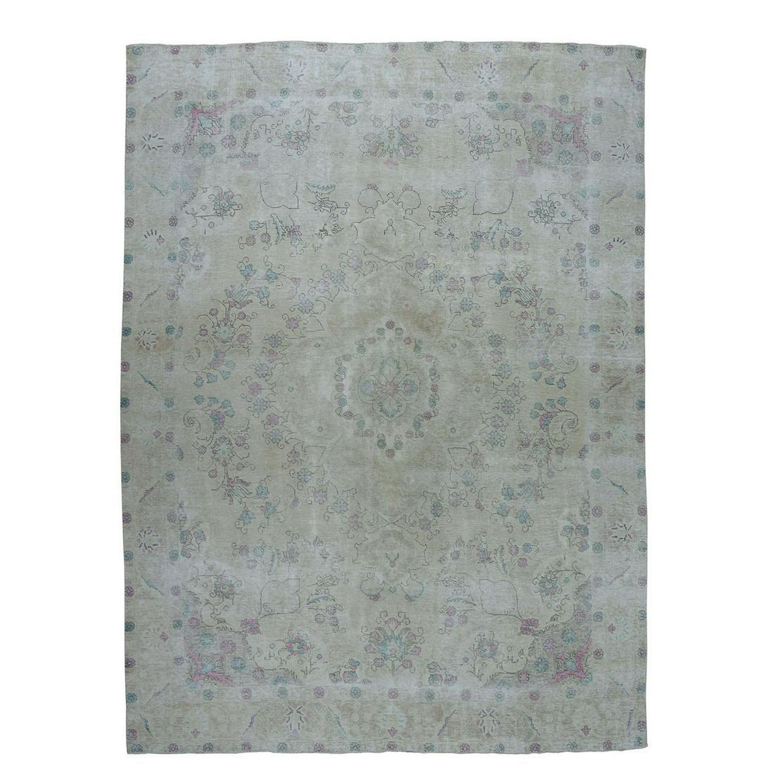 Vintage White Wash Tabriz Worn Wool Hand-Knotted