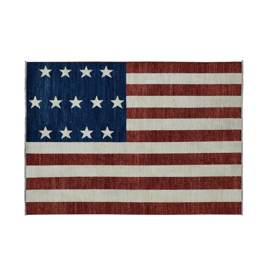 Pure Wool Vintage Hand-Knotted Civil War Design Flag