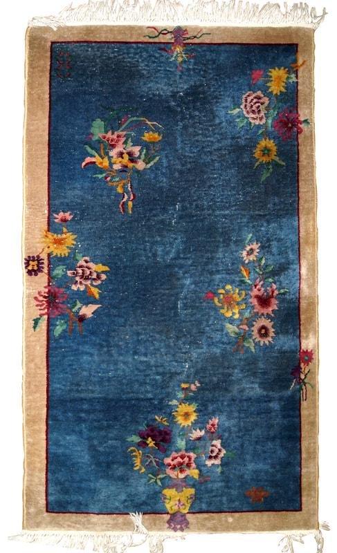 Handmade antique Art Deco Chinese rug 4.1' x 6.10'