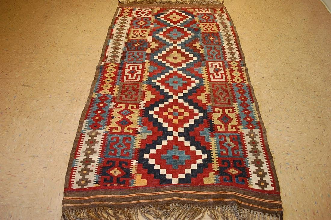 c1920sANTIQUE VEGY DYE RARE COLLECTABLE CAUCASIAN KILIM