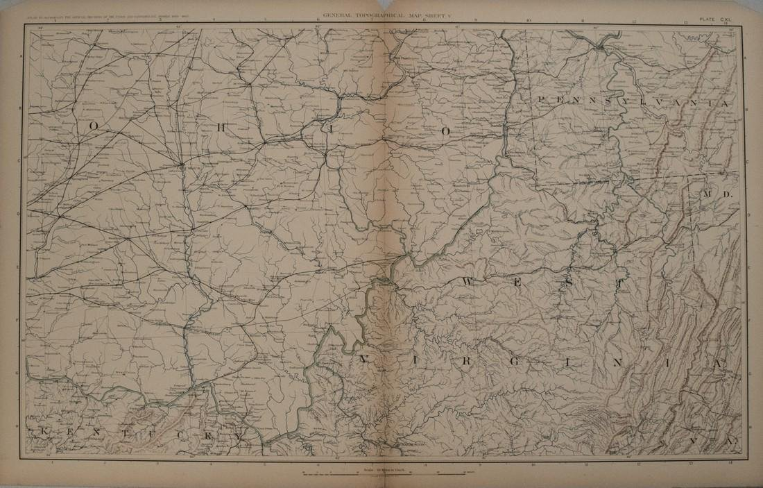 1894 Cowles Civil War Map of Ohio, West Virginia and