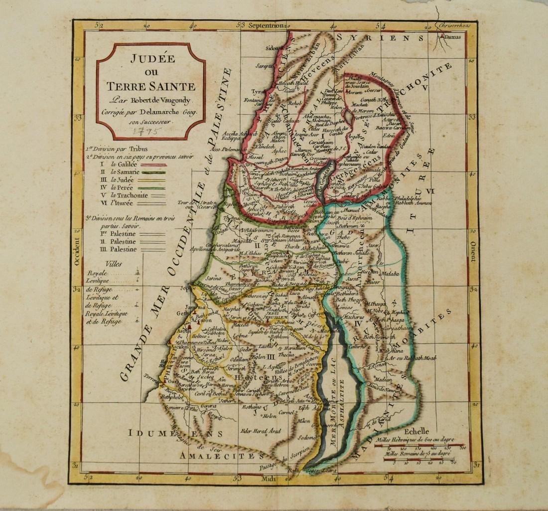 1795 c. Robert de Vaugondy Map of the Holy Land --