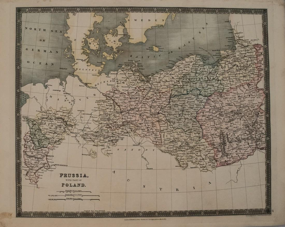1831 Teesdale Map of Prussia -- Prussia with Part of