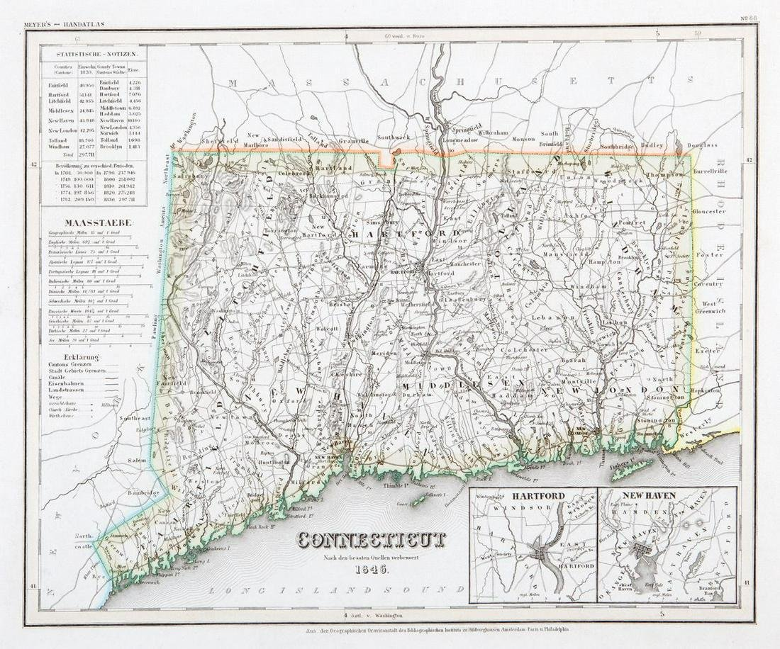 Connecticut, 1846, with Hartford & New Haven Insets