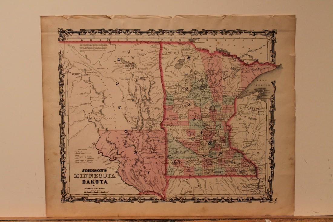 1858 Map of Minnesota and Dakota