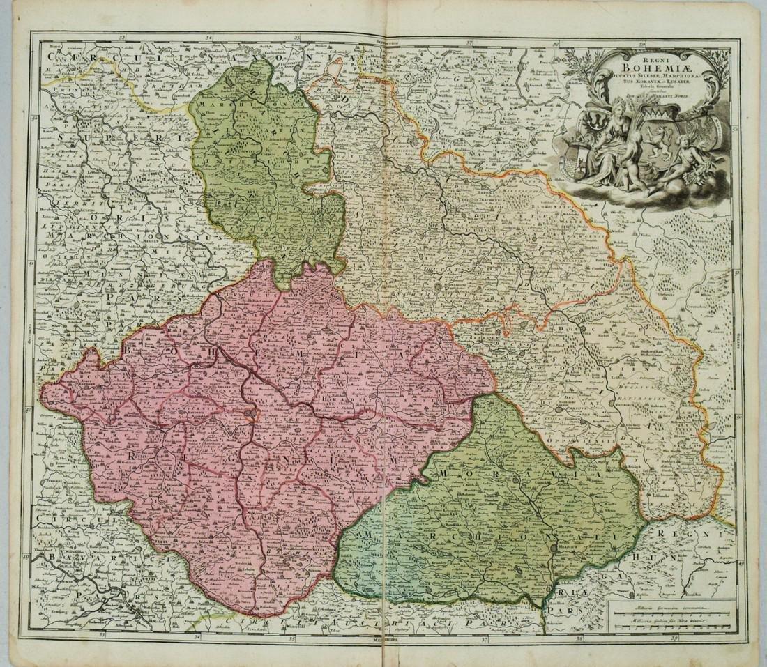 1720 c. Homann Map of Czech Republic, Slovakia and