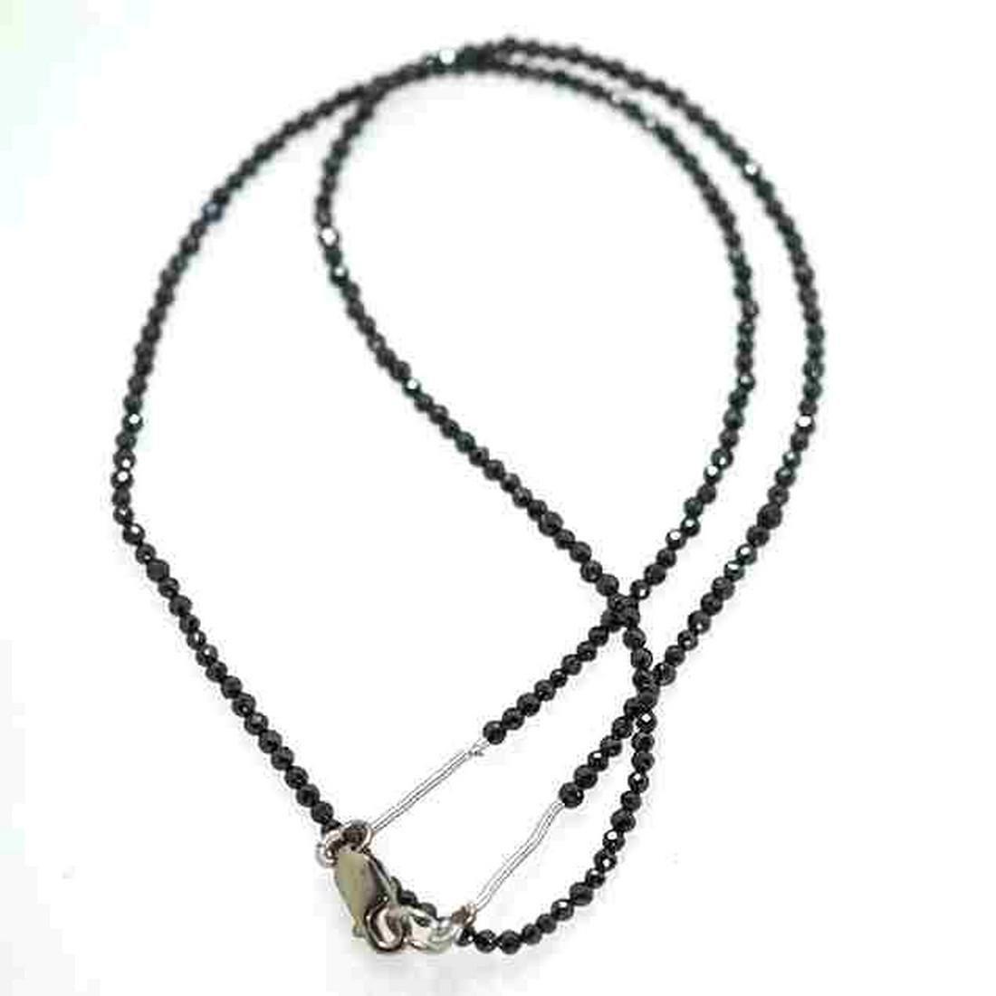 15.88 Cts Black Diamond Beads-1.52 mm,8.5 inch
