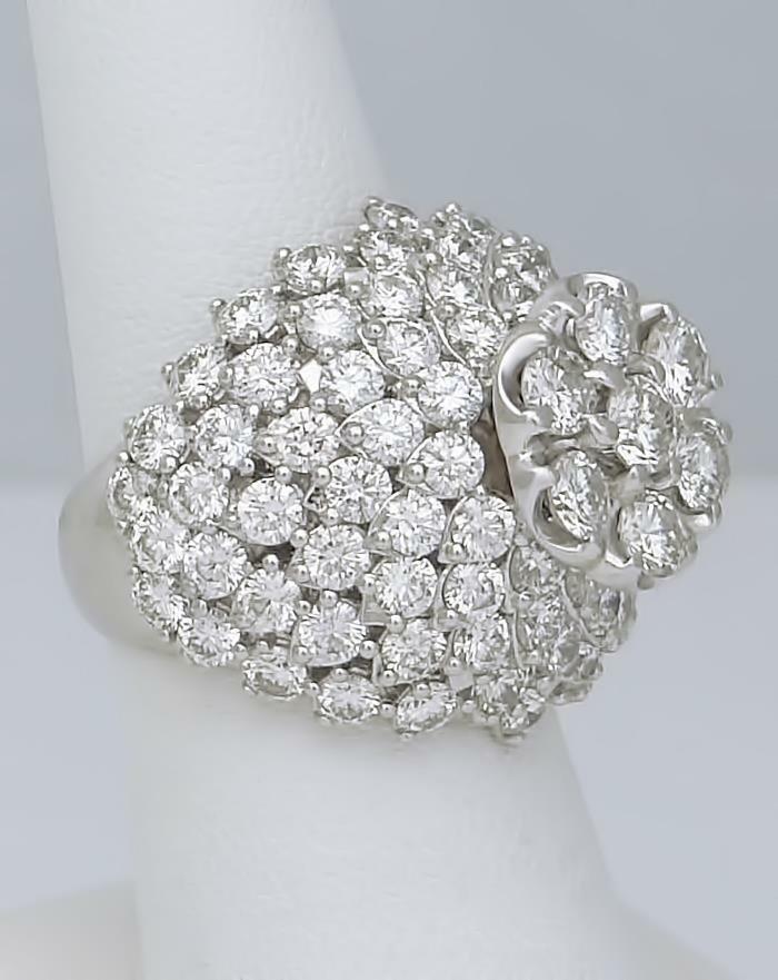 14k WHITE GOLD 6.24ct ROUND DIAMOND FLOWER DOME CLUSTER