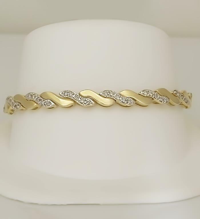 LADIES 10k YELLOW GOLD 3/4ct ROUND DIAMOND WAVE LINK