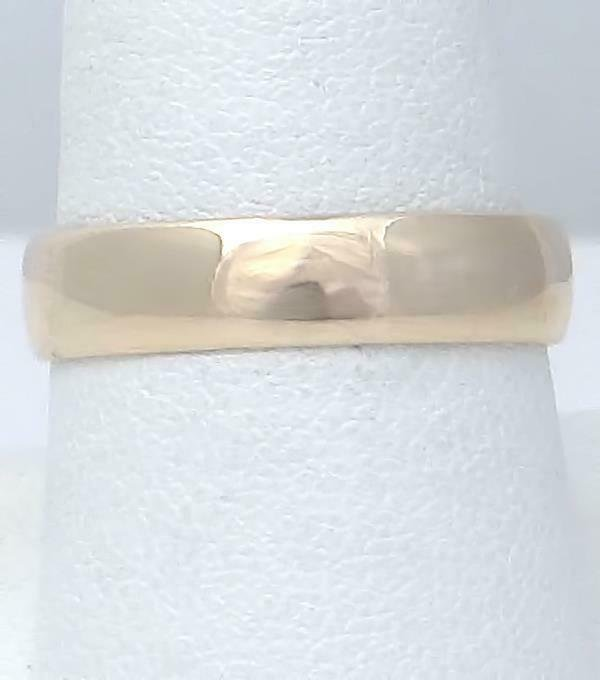 MENS 14k YELLOW GOLD HIGH POLISH PLAIN WEDDING BAND