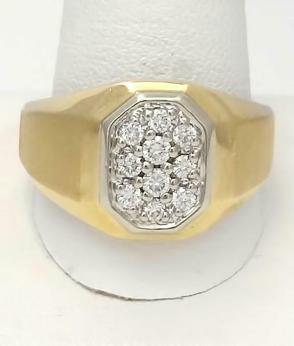 MENS 14k YELLOW GOLD BRUSHED 1/2ct VS2 GH ROUND DIAMOND