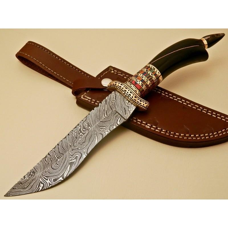Damascus steel knife, with leather sheath, horn and