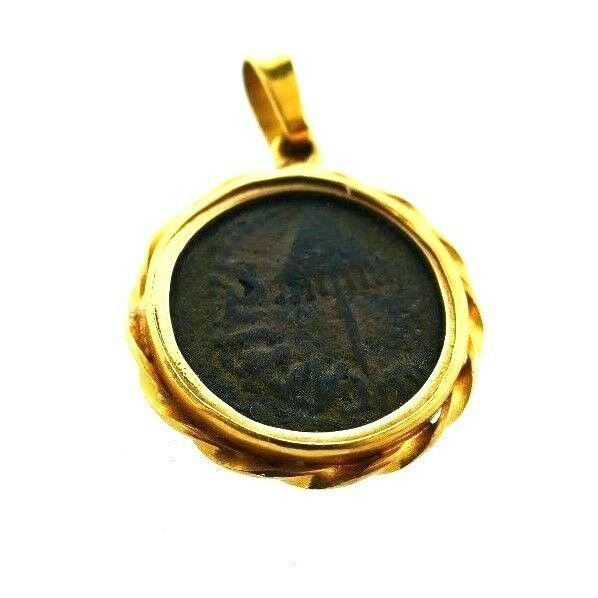 VINTAGE 18k Yellow Gold & Ancient Coin Pendant Charm