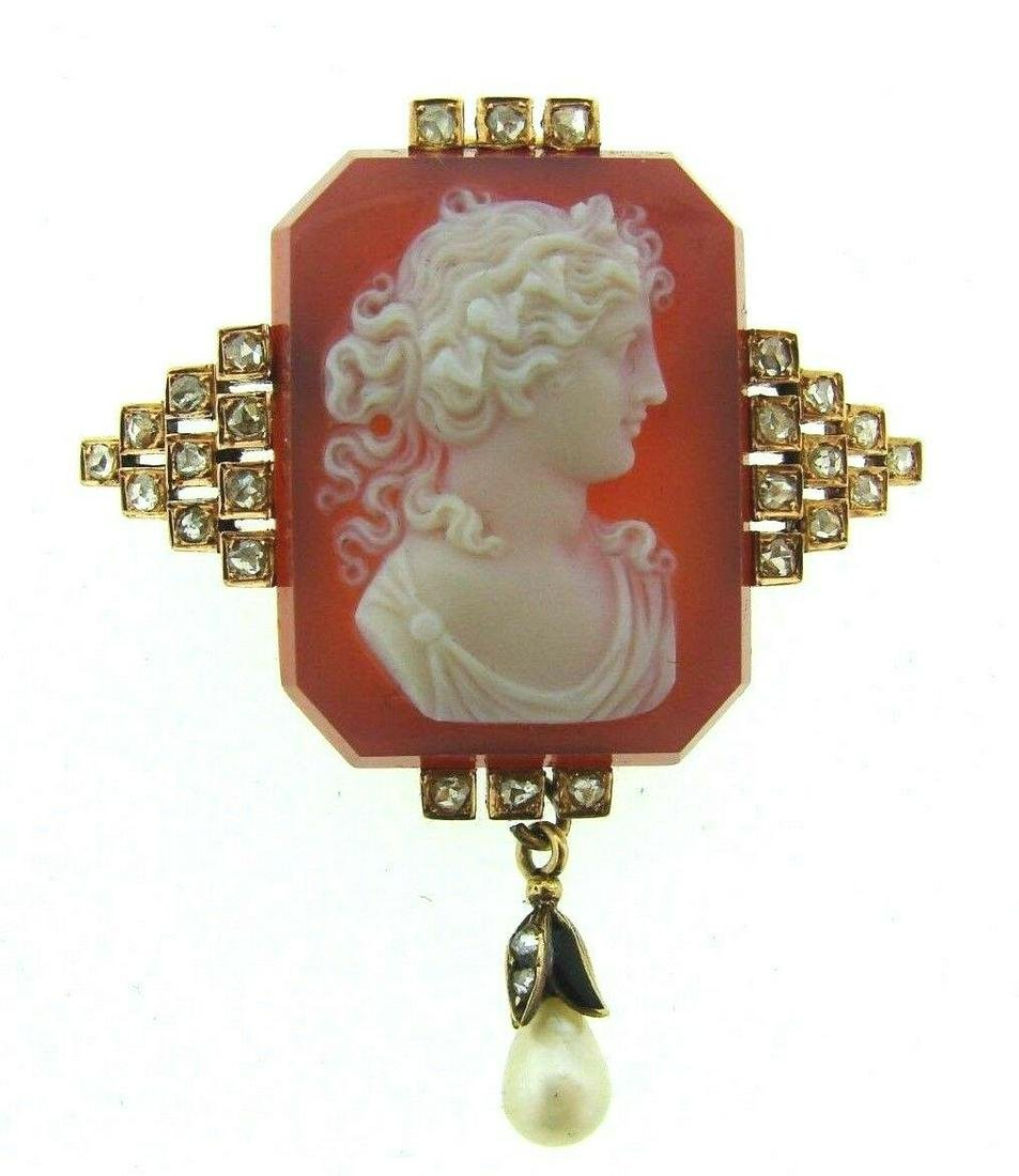 AMAZING BROOCH PENDANT CARNELIAN CAMEO 14K GOLD PEARL