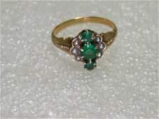 Vintage 14kt Gold Old Mine Cut Emerald & Pearl Ring,