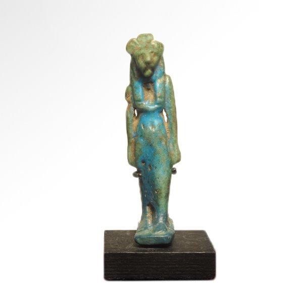 Egyptian Turquoise Faience Amulet of Sekhmet, c. 600