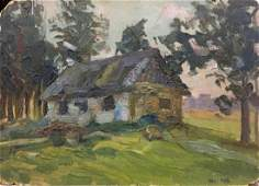 Oil painting Lonely house Sergey Nikolaevich Lysenko