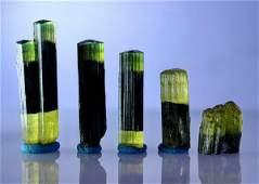 Natural & unheated~ Green Cap Tourmaline Crystal Lot