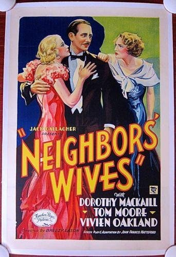 Neighbors' Wives (1933) US 1 SH Movie Poster LB