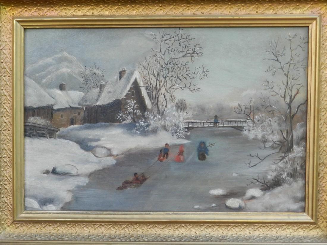 Primitive Oil/ Board Winter Scene