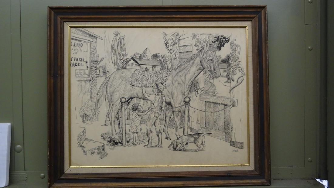 MICHAEL PAUL ROUSH SIGNED HORSE PAINTING
