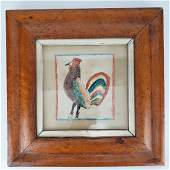 American Pen and Ink Chicken / Rooster in Maple Frame