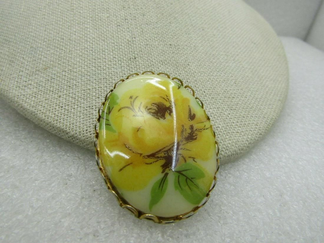 Vintage Yellow Rose Cameo Brooch, 1960's-1970's