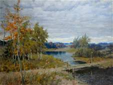 Oil painting Autumn landscape Alexander Petrovich Bykov