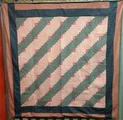 Log Cabin Straight Furrow Antique Quilt