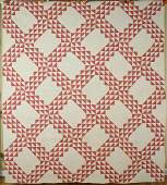 1890s Double Pink  White Ocean Waves Antique Quilt