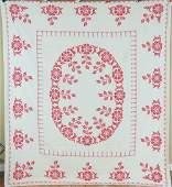 Vintage 40s Red  White Floral Antique Quilt